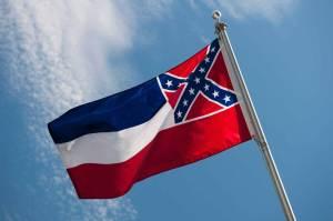 USA, Mississippi State flag against sky