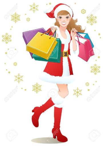 16248006-santa-girl-holding-shopping-bags-on-snowflakes-christmas-shopping-stock-vector